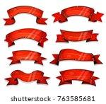 wooden christmas parchment... | Shutterstock .eps vector #763585681