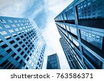 the skyscraper is in qingdao ... | Shutterstock . vector #763586371