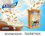 oat flakes advertising poster... | Shutterstock .eps vector #763587424
