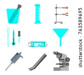 scientific set of laboratory... | Shutterstock .eps vector #763589695