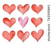 set of watercolor hearts... | Shutterstock . vector #763590841