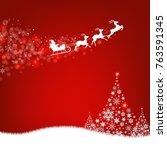 xmas postcard fir tree border... | Shutterstock .eps vector #763591345