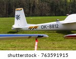 Small photo of PLASY, CZECH REPUBLIC - APRIL 30: Aerobatic two-seat all-metal Let L-13AC Blanik glider for dual aerobatic training stands on airfield April 30, 2017 in Plasy, Czech Republic.