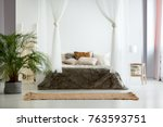 white walls and fur bedding in... | Shutterstock . vector #763593751