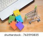 e commerce online shopping idea ... | Shutterstock . vector #763593835