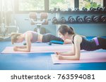fitness people doing exercises... | Shutterstock . vector #763594081