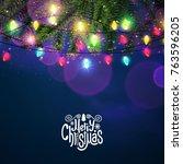 merry christmas shining... | Shutterstock .eps vector #763596205