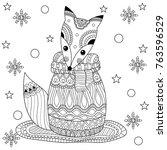 coloring book of fox in winter...   Shutterstock .eps vector #763596529