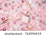 flat lay holiday background... | Shutterstock . vector #763596919
