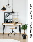poster with plant  books and... | Shutterstock . vector #763597519