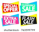 set sale tags  banners design... | Shutterstock .eps vector #763599799