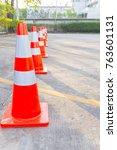 bright orange traffic cones... | Shutterstock . vector #763601131