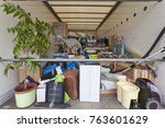 fully loaded moving truck with... | Shutterstock . vector #763601629