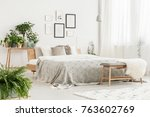 bright stylish room with fresh...   Shutterstock . vector #763602769