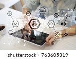 iot  automation  industry 4.0.... | Shutterstock . vector #763605319