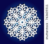 snowflake for laser cutting.... | Shutterstock .eps vector #763605511
