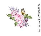 watercolor  wedding bouquet... | Shutterstock . vector #763607224