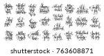 set of 25 hand lettering...   Shutterstock .eps vector #763608871