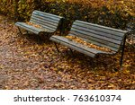 Two Benches In Fall