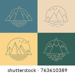 vector mountain icons in line... | Shutterstock .eps vector #763610389