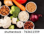 fresh raw vegetables with nuts... | Shutterstock . vector #763611559