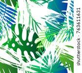 seamless tropical vector... | Shutterstock .eps vector #763611631