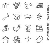 thin line icon set   greenhouse ... | Shutterstock .eps vector #763615837