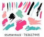 grunge brush stroke set | Shutterstock .eps vector #763617445