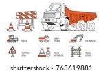 construction machinery trendy... | Shutterstock .eps vector #763619881