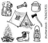 camping trip  outdoor adventure ... | Shutterstock .eps vector #763621921
