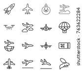 thin line icon set   rocket ... | Shutterstock .eps vector #763622284