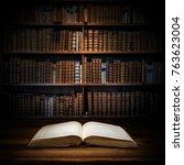 open old book on a bookshelf...   Shutterstock . vector #763623004