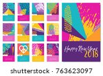 new year 2018 calendar template ... | Shutterstock .eps vector #763623097