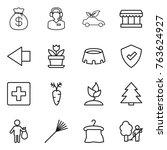 thin line icon set   money bag  ...   Shutterstock .eps vector #763624927