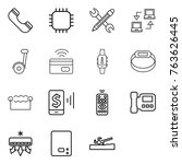 thin line icon set   phone ... | Shutterstock .eps vector #763626445