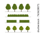 set of city tree  bush  hedge... | Shutterstock .eps vector #763628071