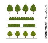 set of city tree  bush  hedge... | Shutterstock .eps vector #763628071