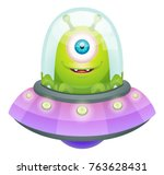 cartoon alien in flying saucer | Shutterstock .eps vector #763628431