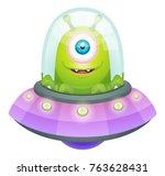 cartoon alien in flying saucer   Shutterstock .eps vector #763628431