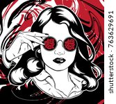 vector hand drawn illustration... | Shutterstock .eps vector #763629691