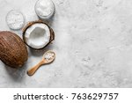 fresh coconut with cosmetic oil ... | Shutterstock . vector #763629757