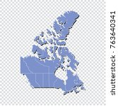 canada map.high detailed blue... | Shutterstock .eps vector #763640341