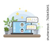 review on computer. rating with ... | Shutterstock .eps vector #763643641