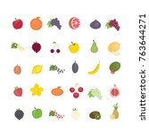 different fruit set. all kinds... | Shutterstock .eps vector #763644271