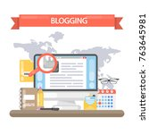 blogging concept illustration.... | Shutterstock .eps vector #763645981
