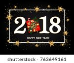 happy new year design layout on ... | Shutterstock .eps vector #763649161