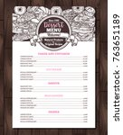 dessert vector menu with sketch ... | Shutterstock .eps vector #763651189