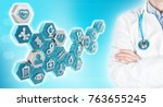 doctor and medical icons in... | Shutterstock . vector #763655245