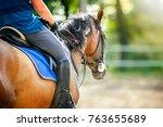 man riding a horse closeup... | Shutterstock . vector #763655689