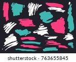 grunge brush stroke set | Shutterstock .eps vector #763655845